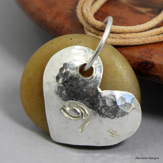 Sterling Heart Charm Wave and Beach Agate Leather Necklace