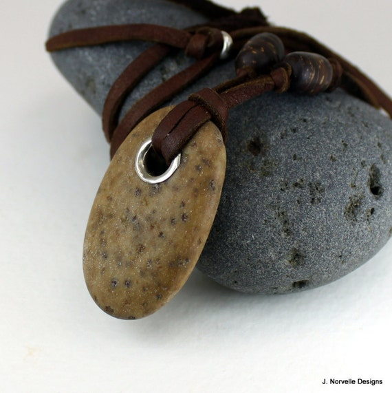 Stone Leather Necklace - Natural Stone Necklace - Beach Stone Necklace - Earthy Jewelry