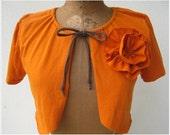 T Shirt Tee Cardigan Shrug / Pumpkin Spice / Orange / Drawstring / Women / M / Short Sleeved / Tee Flower / Eco Friendly / Fall / Autumn