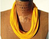 """T Shirt Tee Necklace / Marigold Sunshine Yellow Gold / UpCycled / 26"""" Long / 66 cm / Women / Girls / Headband / Bracelet"""