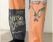T Shirt Tee Pants for Her or Him / Recycled / Unisex / Peach Heather Gray Charcoal Gray Navy Blue / Eco Comfy / Patchwork / Lounge Pants