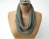 """Olive Green T Shirt Necklace / Women / Upcycled Tee / 30"""" Long / 76 cm / Women / Scarf Necklace / Gift For Mom or Her"""