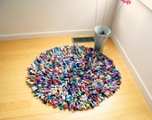 "Recycled TShirt Rug Cotton Multicolor 36"" Round Rug Colorful Rug Fashion Rug Area Rug Handmade Rug by ohzie"