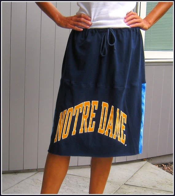 Notre Dame Upcycled T Shirt Skirt / Fighting Irish / Navy Blue Yellow / Women / Girls / Straight / Knee Length / Cotton / by ohzie