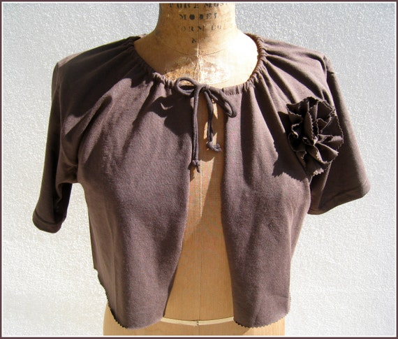 Chocolate Brown T Shirt Cardigan Shrug / Women / Girls / M / Short Sleeved / Tee Flower / Eco Friendly / Spring / Summer / Layer / by ohzie