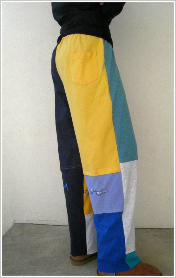 Colorblock T Shirt Tee Pants For Her Him /  L - XL / UpCycled / Colorful / Gold Teal Gray Navy Blue / Gift Under 25 USD / Summer / by ohzie