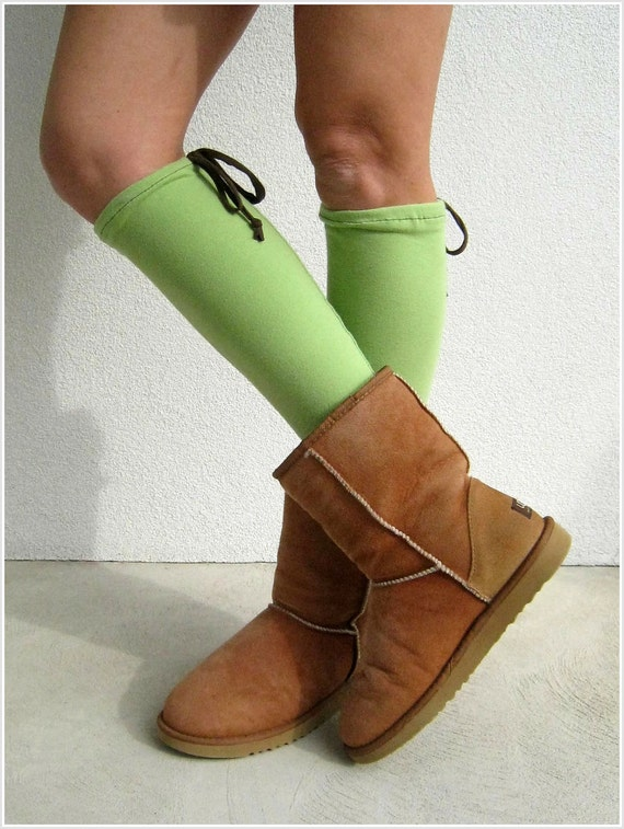 Apple Green T Shirt Leg Warmers / Recycled / Teens / Girls / Fall / Autumn / Cotton Stretch / Warm / Soft / Gift for Her / ohzie