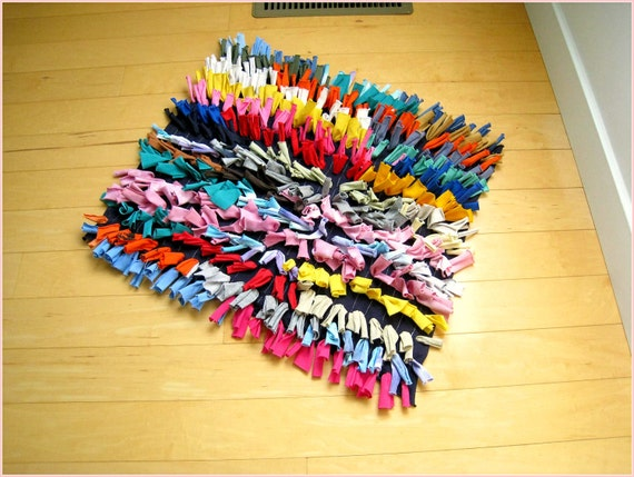 """T Shirt Rug / Multicolor / Recycled Tees / Fringe / Soft / Throw Rug / Modern / Square / 22"""" X  19"""" / by ohzie"""