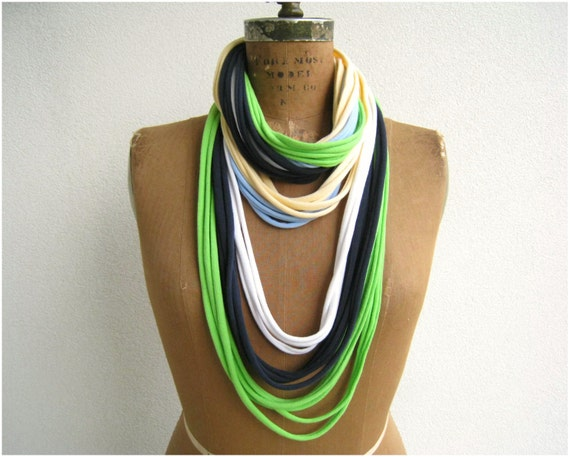 Multicolor T Shirt Necklace // Upcycled // Recycled // Navy Blue White Lime Neon Green Yellow // Bracelet // Cotton // Soft // Fun // ohzie