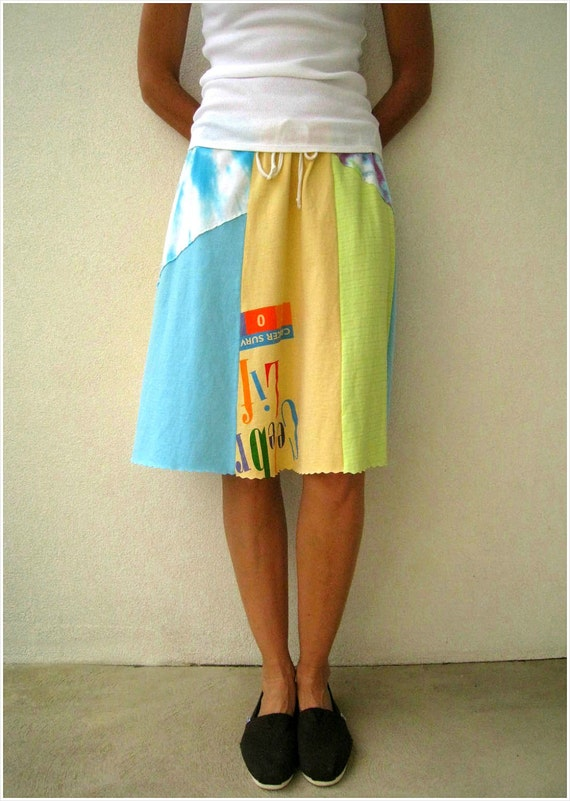 Pastel Colors T Shirt Skirt / Butter Yellow Aqua Pink Turquoise Lime Neon Green / Recycled Tees / Fashion / Women / Girls / Knee Length