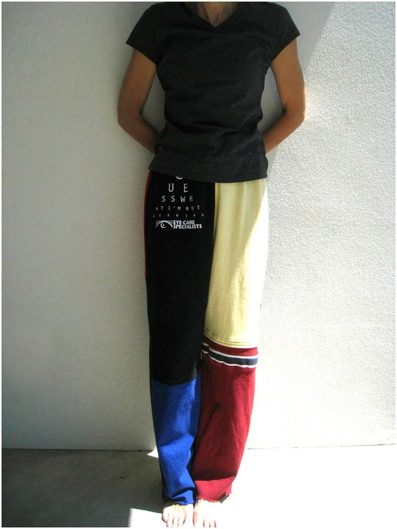 T Shirt Pants For Him or Her / S - M / Unisex / Black Yellow Red Royal Blue / UpCycled Cotton Tees / Soft / Fun / Comfortable / by ohzie