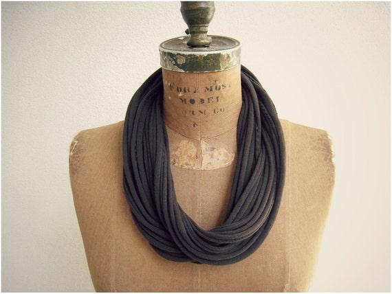 """T Shirt Necklace / Chocolate Brown Espresso / Long Short / Women / Girls / 27"""" Long /  Eco Friendly / Cotton Bracelet / by ohzie"""