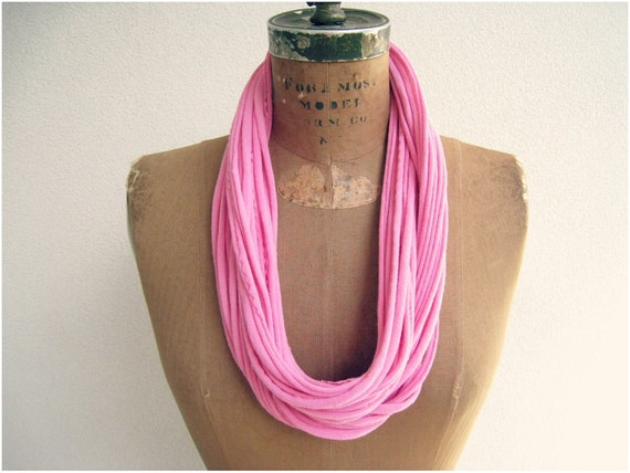 """Recycled T Shirt Necklace / Bubblegum Pink / Long Short Choker / 33"""" Long / 83 cm / Women / Girls / Cotton Tee / ohzie"""