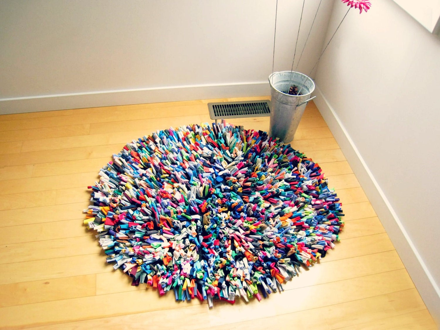 Recycled Tshirt Rug Cotton Multicolor 36 Round Rug