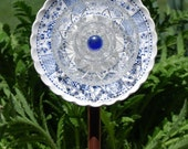 beautiful blue glass flower uniquely handcrafted for your garden or home