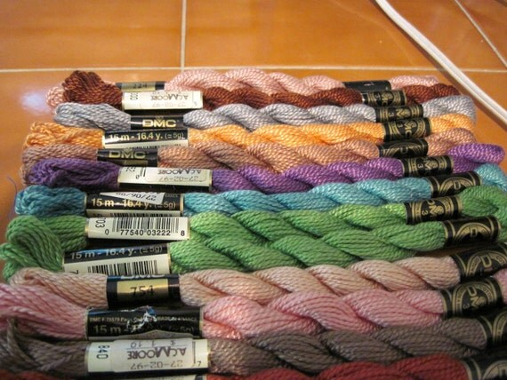 Lot of 15 DMC Perle Cotton Skeins Size 3 Embroidery Crosstitch Plastic Canvas Hardanger