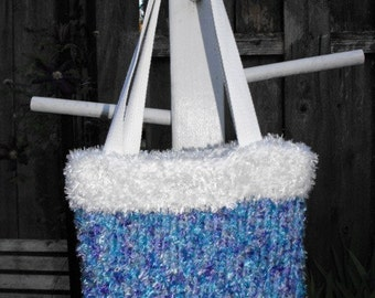 Purple, Teal and White Knitted Handbag