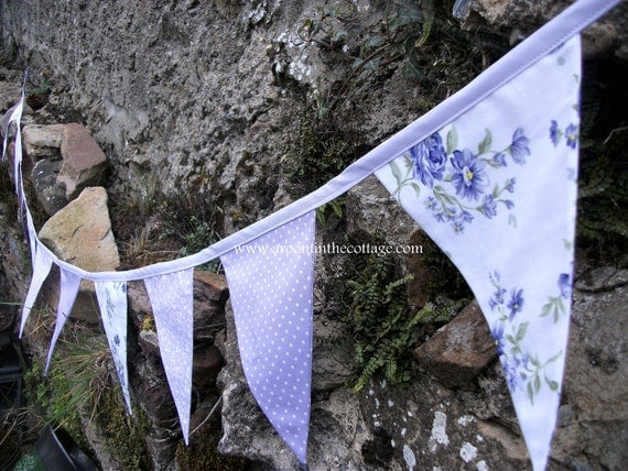 Pretty floral and dotty bunting banner in lilac for wedding, party, room decoration READY TO SHIP