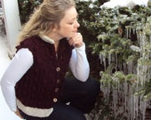 Hand Knit Warm Soft Bobble Vest Ladies M/L