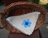 Blue flower power off white dishcloth