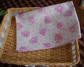 SALE -Handmade Soft Pink Flannel Kitten Burp cloth/doll blanket