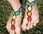 Barefoot Sandals CHAKRA FEET Hand Crochet  Red Orange Yellow Green Blue Purple  - HiPPiE feet - Original design