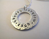 Hammered Silver Family Circle Pendant