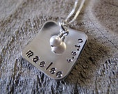 Baby Keepsake Silver Square Pendant Cupped with Birthdate - Great Gift for Mom or Nana