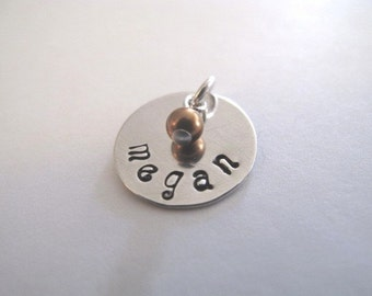 Your Childs Name and Birthstone Pearl Disc