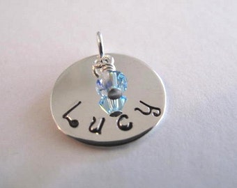 Childs Name and Birthstone pendant