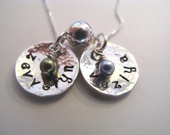 Hammered and Cupped 2 Name Necklace for Mom