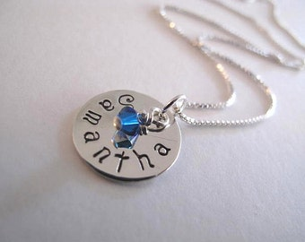 Childs Name and Swarovski Crystal Birthstone Necklace