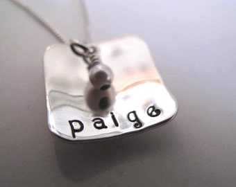 Silver Square Pendant Cupped with a Name