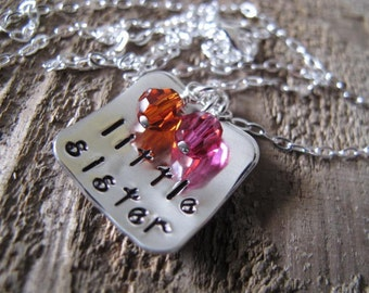Little Sister Silver Square Pendant Cupped with both Sisters Birthstones