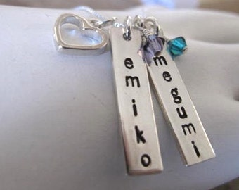 2 Thick Rectangle Bar Tags with an Open Heart Charm personalized with names of your choice