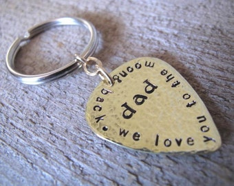 We Love You to the Moon & Back Personalized Brass Guitar Pick Keychain - For Dad
