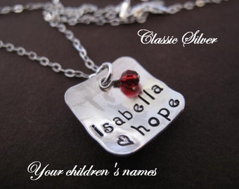 Personalize this Silver Square Pendant Cupped with  Your Kids Names - will stamp up to Three Names