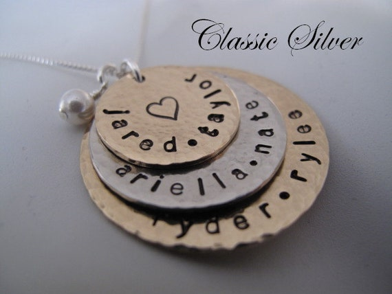 Large Family Custom Stacked Generations Name Necklace