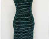 Vintage 90's green polka dot dress-Size SMALL