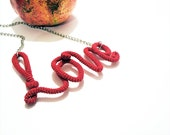 Scarlet Love Sign Necklace Wrapped Crochet Tube Pendant