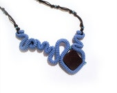Crochet Statement Necklace Free Form Blue Brown