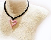 Sweet Heart Crochet Necklace Pale Rose Pink