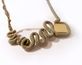 Crochet Statement Necklace Free Form Army Green