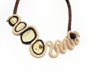 Unconventional Collar Necklace Ecru Brown, Natural Granite Rock, Crochet Art Necklace