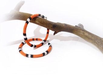 Exotic Big Hoop Earrings, Milk Snake Crochet Tube Hoops
