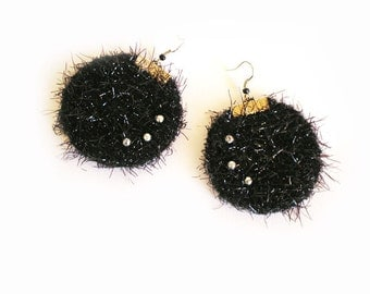Shaggy Textile Round  Earrings  Black Lame