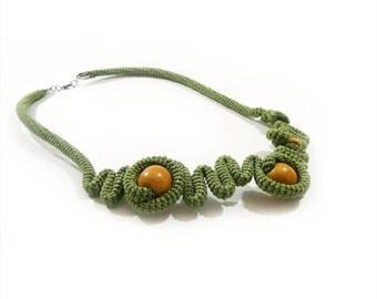 Pepper Green Crochet Necklace, Abstract Geometric Free Form necklace