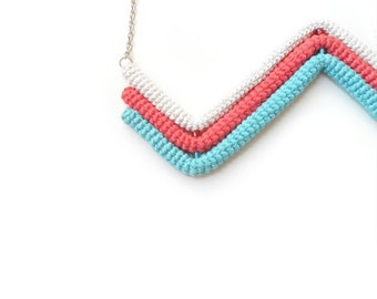 Zigzag Chevron Necklace, Geometric Necklace, Three Colored Necklace Off White Coral Aquamarine, Crochet Tube Pendant