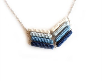 Chevron Necklace Blue Ombré, Crochet Tube Pendant, Ocean Stripe, Gradient Blue, Nautical Chic Jewelry