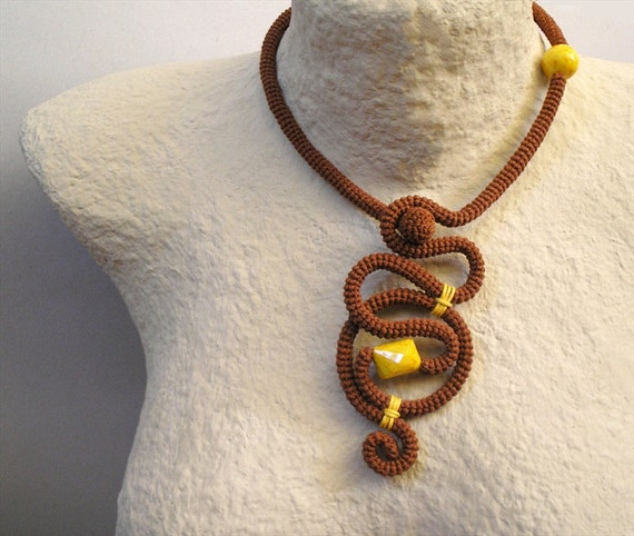Crochet Tube Necklace Free-form Versatile Cinnamon Yellow